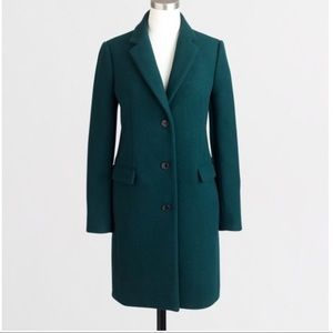 NWT J crew wool top coat forest green